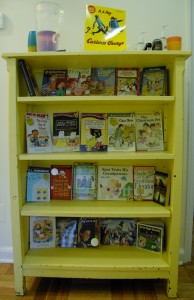 The yellow bookshelf is ready for back-to-school.